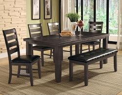 ASH BLACK BUTTERFLY LEAF RECTANGLE 6 PIECES DINING SET