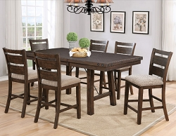 TRESTLE ANTIQUE BROWN COUNTER HEIGHT DINING TABLE