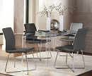 MICHONNE GLASS TOP DINING SET WITH GREY PU CHAIRS