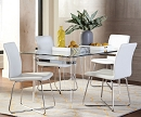 MICHONNE GLASS TOP DINING SET WITH WHITE PU CHAIRS