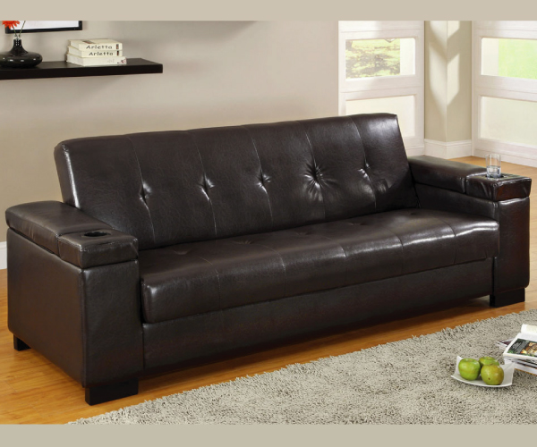 LIVING ROOMS FUTONS LOGAN ADJUSTABLE SOFA BED FUTON WITH STORAGE