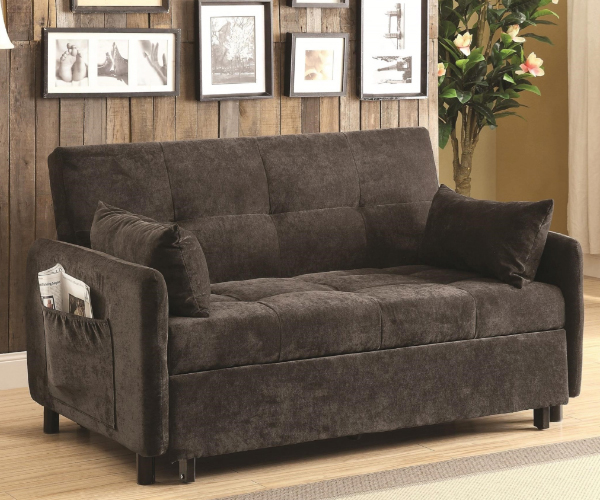 Twill Fabric Dark Brown Adjustable Pull Out Sofa Bed