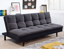 DARK GREY PILLOW TOP FUTON WITH REMOVABLE WASHABLE COVER