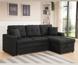 BLACK LINEN LIKE FABRIC PULL OUT SOFA BED SECTIONAL