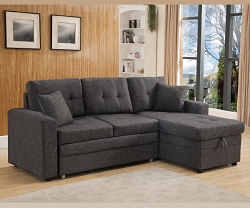 GREY LINEN LIKE FABRIC PULL OUT SOFA BED SECTIONAL