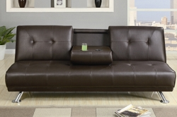 JOSH DARK BROWN SOFA BED FUTON WITH CUP HOLDER