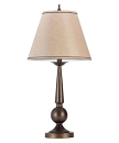 BRONZE FINISH TABLE LAMP WITH BEIGE FABRIC SHADE