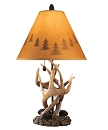 DEREK VINTAGE ANTLER AND PINE CONE TABLE LAMP