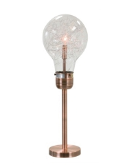 ANTHONY BRUSH COPPER AND GLASS LIGHT BULB 26 INCHES TABLE LAMP