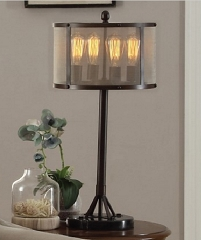ANTIQUE BRONZE MESH SHADE INDUSTRIAL RETRO 31 INCHES TABLE LAMP