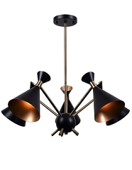 ARNE MATT BLACK  5 LIGHT CHANDELIER