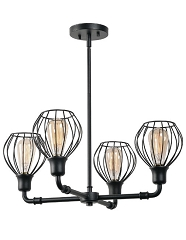 CAGNEY 4 LIGHT BLACK CHANDELIER