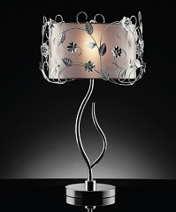 DOUBLE SHADE CHROME 34 INCHES TABLE LAMP
