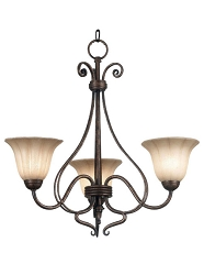 WALLIS 3 LIGHTS BURNISHED BRONZE CHANDELIER