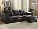 LLOYD BLACK PU SECTIONAL SOFA CHAISE WITH PULL OUT SLEEPER