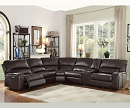 SAUL ESPRESSO LEATHER -AIRE POWER RECLINER SECTIONAL