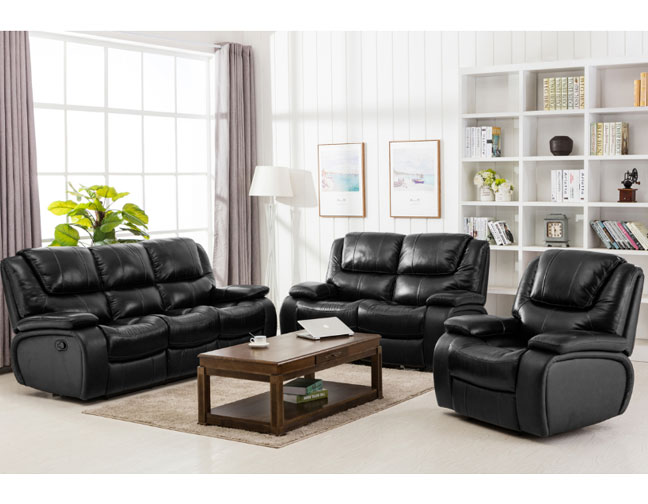 BENEDICT BLACK TOP GRAIN LEATHER MATCH RECLINING SOFA LOVE SEAT COLLECTION