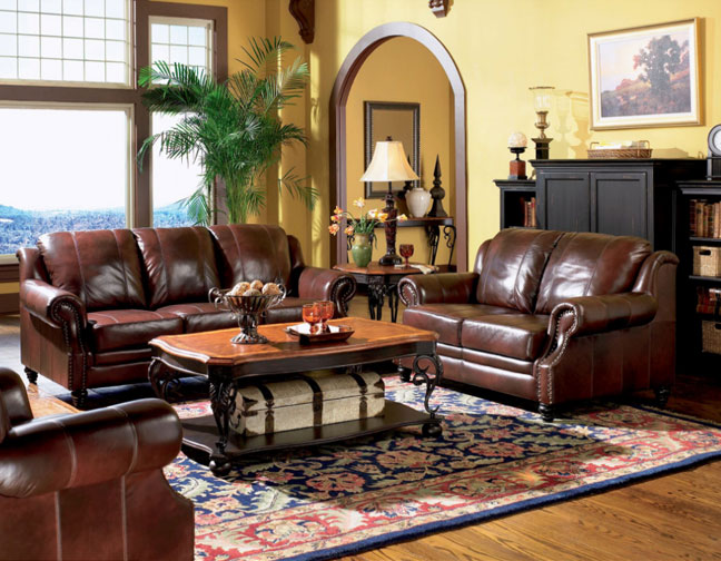 Princeton Burgundy Full Leather Sofa Love Seat Collection