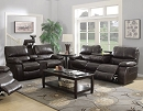 WILLEMSE DARK BROWN LEATHERETTE MOTION SOFA LOVE SEAT COLLECTION