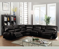 SAUL BLACK LEATHER AIR POWER RECLINER SECTIONAL