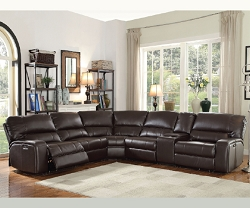 SAUL ESPRESSO LEATHER AIR POWER RECLINER SECTIONAL