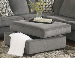 LORIC SMOKE SQUARE STORAGE OTTOMAN BY ASHLEY