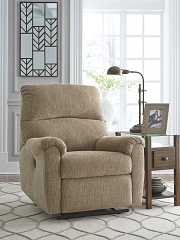 MCTEER MOCHA CHENILLE FABRIC POWER RECLINER