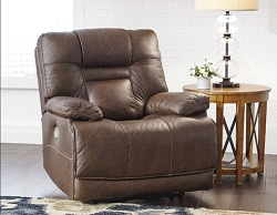 WURSTROW UMBER LEATHER MATCH POWER RECLINER CHAIR WITH ADJUSTABLE HEAD REST