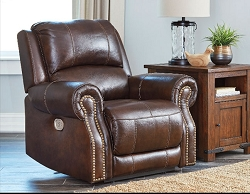 BUNCRANA LEATHER MATCH POWER RECLINER CHAIR WITH ADJUSTABLE HEADREST BY ASHLEY