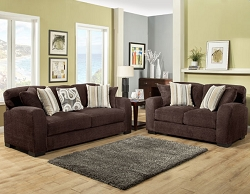 WESTLY CHOCOLATE GEL FOAM SEATING SOFA AND LOVE SEAT COLLECTION