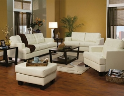 SAMUEL CREAM LEATHERETTE SOFA LOVE COLLECTION