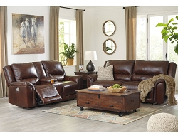 CATANZARO MAHOGANY LEATHER POWER MOTION SEATING WITH ADJUSTABLE HEADREST COLLECTION