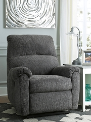 MCTEER CHARCOAL CHENILLE FABRIC POWER RECLINER