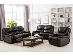 BENEDICT ESPRESSO TOP GRAIN LEATHER MATCH RECLINING SOFA LOVE SEAT COLLECTION