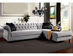 ROTTERDAM FRENCH STYLE TUFTED BACK SECTIONAL CHAISE