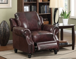 PRINCETON BURGUNDY FULL LEATHER PUSH BACK RECLINER