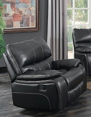 WILLEMSE BLACK LEATHERETTE GLIDER RECLINER