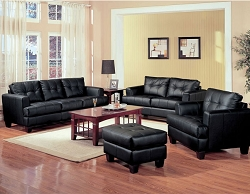 SAMUEL BLACK LEATHERETTE SOFA LOVE COLLECTION