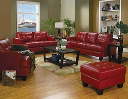 SAMUEL RED LEATHERETTE SOFA LOVE COLLECTION