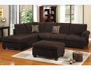 CHOCOLATE CORDUROY REVERSIBLE SECTIONAL CHAISE