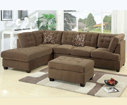 WAFFLE TAN SOFT TOUCH TUFTED REVERSIBLE SECTIONAL CHAISE
