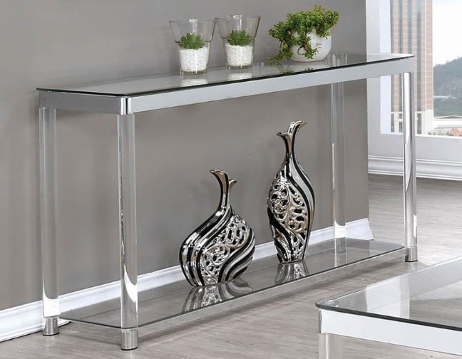 Clear Acrylic Chrome Accent Entry Console Table