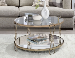 ZEKERA CHAMPAGNE FINISH ROUND MIRRORED TOP COFFEE TABLE