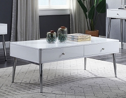 WEIZOR WHITE HIGH GLOSS RECTANGLE COFFEE TABLE