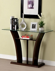 MANHATTAN CHERRY BROWN GLASS TOP SOFA TABLE