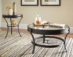 SANDY BLACK INDUSTRIAL ROUND GLASS TOP COFFEE TABLE