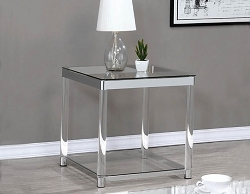 CLEAR ACRYLIC CHROME RECTANGLE END TABLE