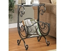 GUNMETAL MAGAZINE RACK ACCENT SIDE TABLE