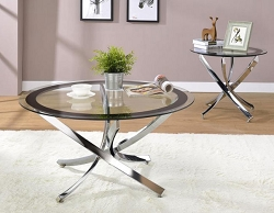 NICKEL GLASS TOP SIDE TABLE
