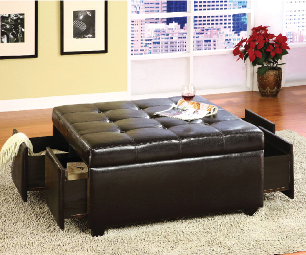 Petula Tufted Storage Ottoman With 4 Drawers